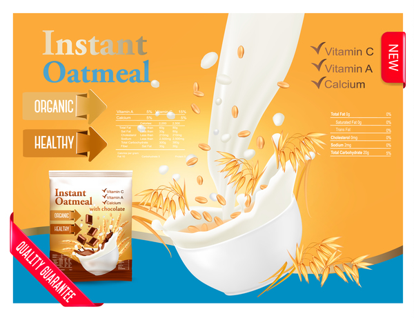 600x461 Oatmeal With Milk Poster Vector Free Download