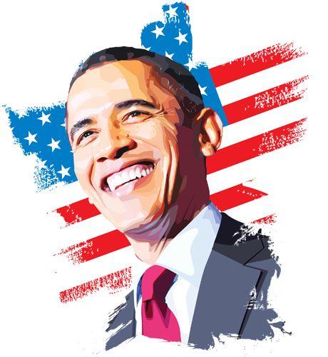 460x500 Obama Vector Portrait, Made In Illustrator Portrait Vector