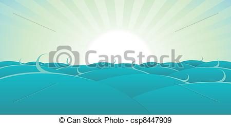 450x243 Ocean Background. Illustration Of A Cartoon Ocean Background