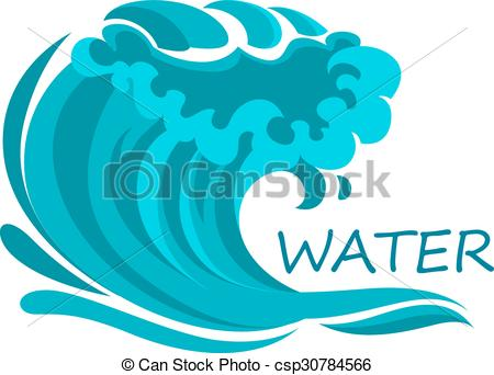 450x342 Ocean Wave Symbol With Foam And Splashes. Powerful Ocean Wave