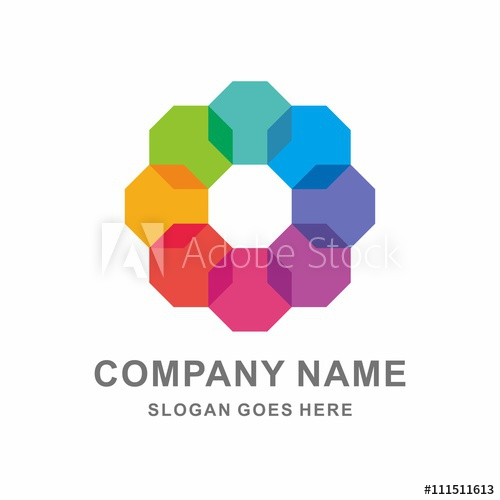 500x500 Geometric Colorful Octagon Vector Logo Template