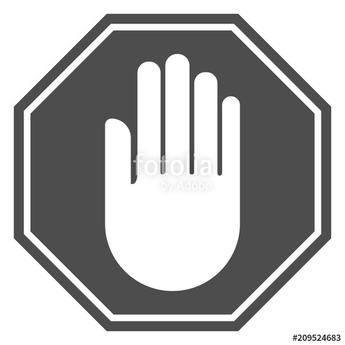 500x500 Stop Hand Sign. White Hand Silhouette On Black Octagon. Vector