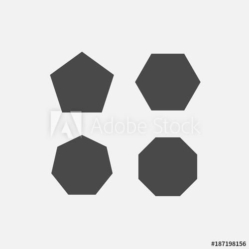 500x500 Polygon Shapes Pentagon Hexagon Octagon Heptagon Vector Icons Gray