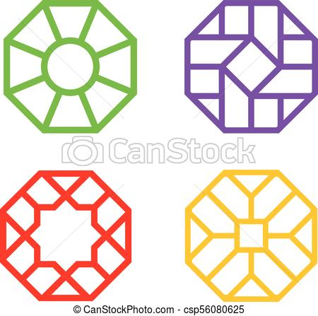 450x447 Chinese Octagon Window Frame With Islamic Pattern, Vector Art.