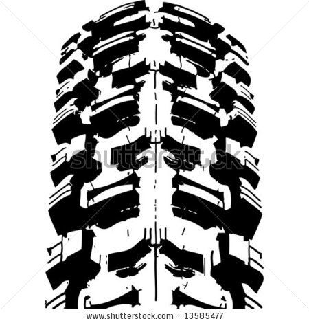 450x470 Mountain Bike`s Offroad Tire`s Footprint. Vector Image.