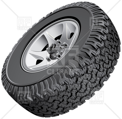 400x390 Off Road Vehicles Wheel With Tread Tire Vector Image Vector