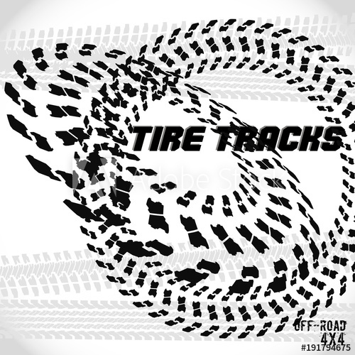 500x500 Tire Track Silhouette Print. Off Road Banner. Vector Illustration