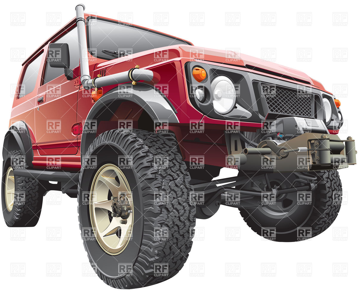 1200x982 Rally Off Road Vehicle With Truck Body Hoist Vector Image Vector