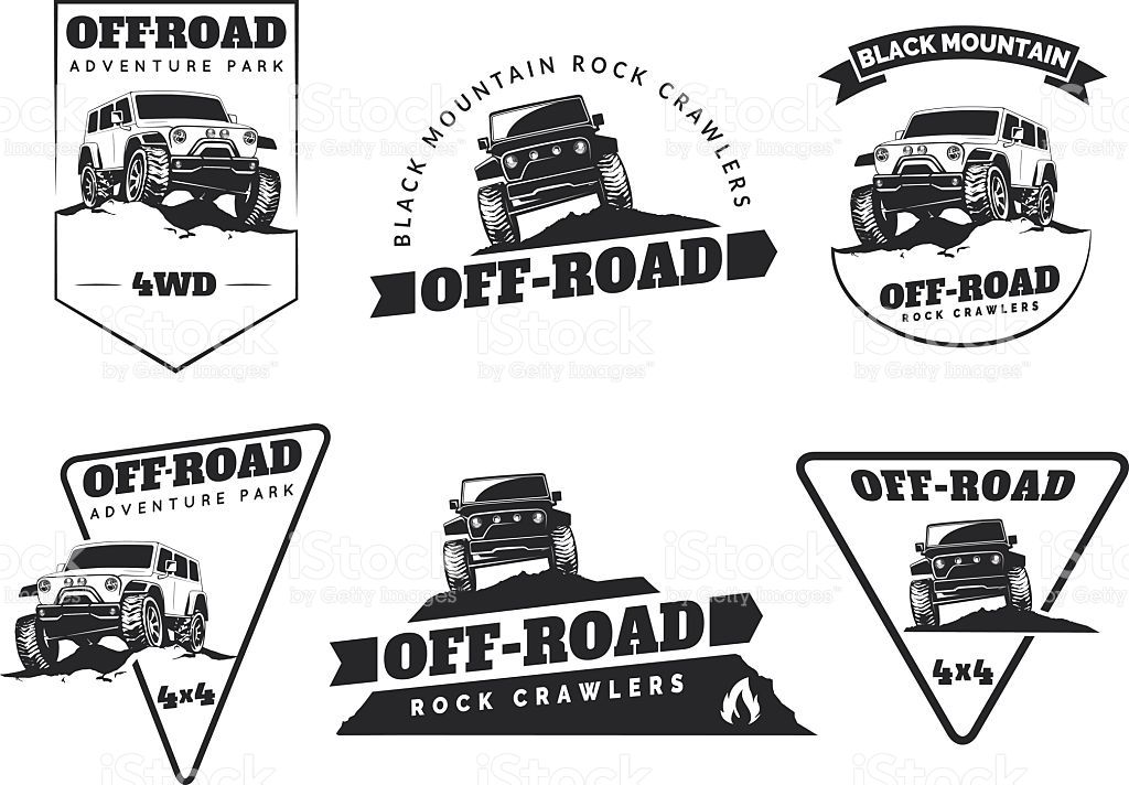 1024x712 Set Of Classic Off Road Suv Car Emblems, Badges And Icons. Rock