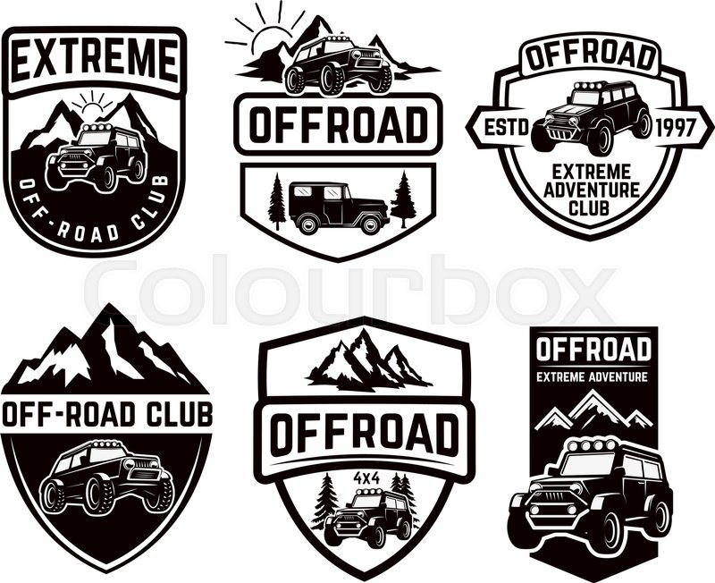 800x652 Set Of Four Off Road Suv Car Emblems. Extreme Adventure Club