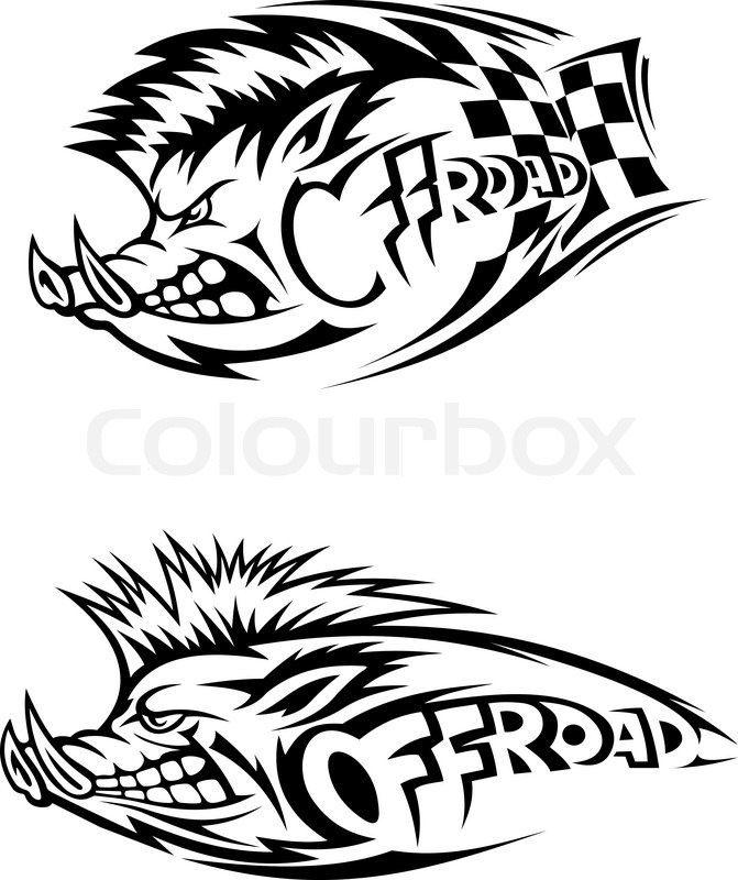 671x800 Snarling Wild Boar Off Road Icon In Black And White Vector Design