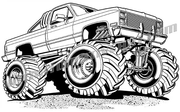 600x372 Chevy Truck Off Road Vector Black Line Clipart, High Quality