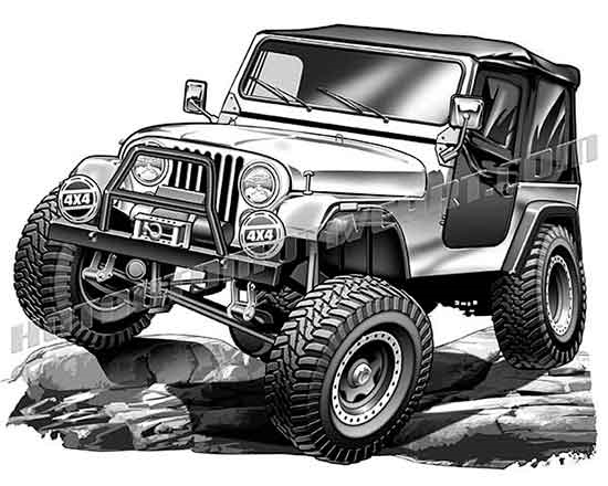 550x440 Jeep Cj On Large Rocks Clip Art, Buy Two Images Get One Free