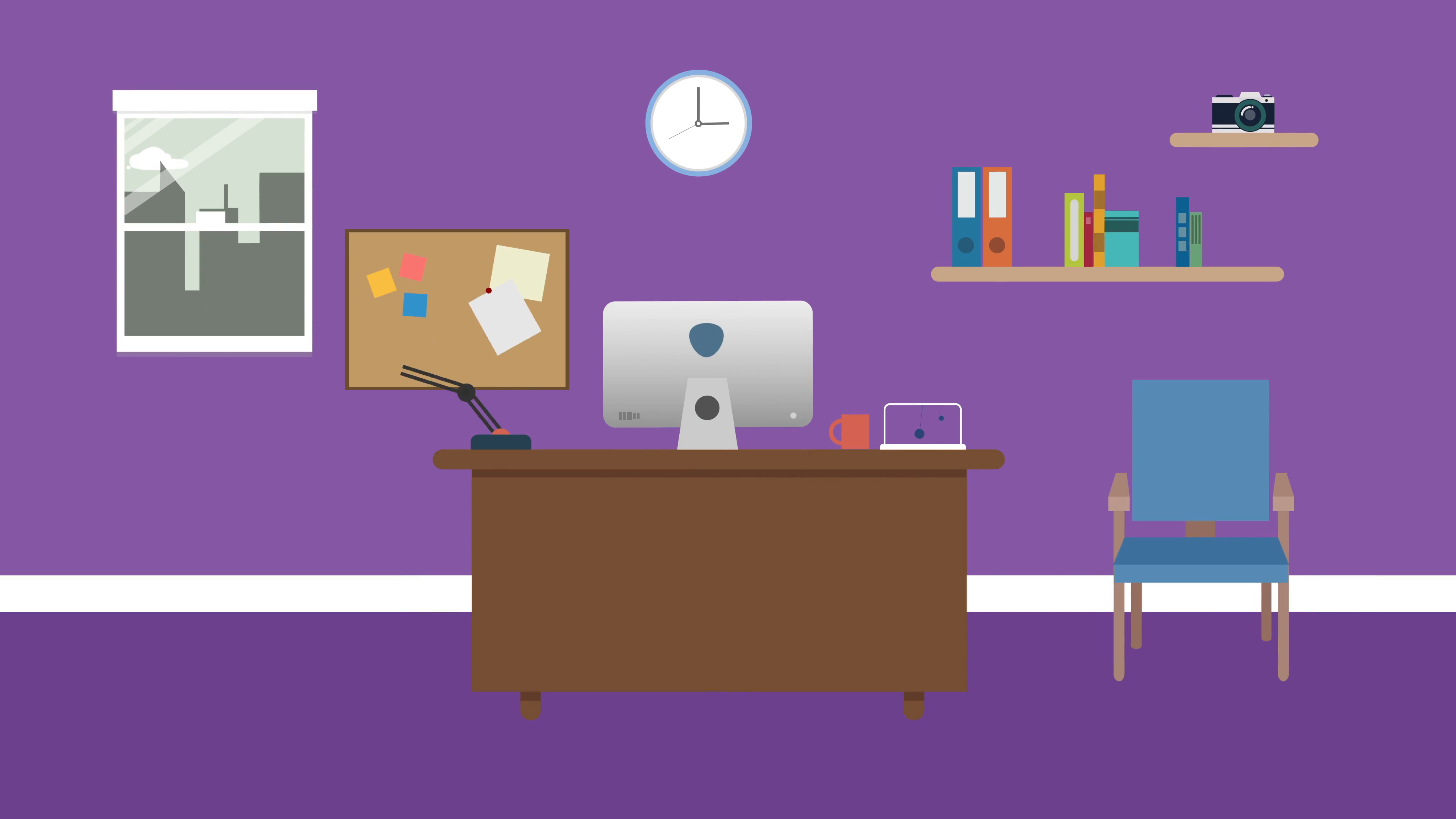 4096x2304 Cartoon Modern Colorful Office Animation With Space For Your Text
