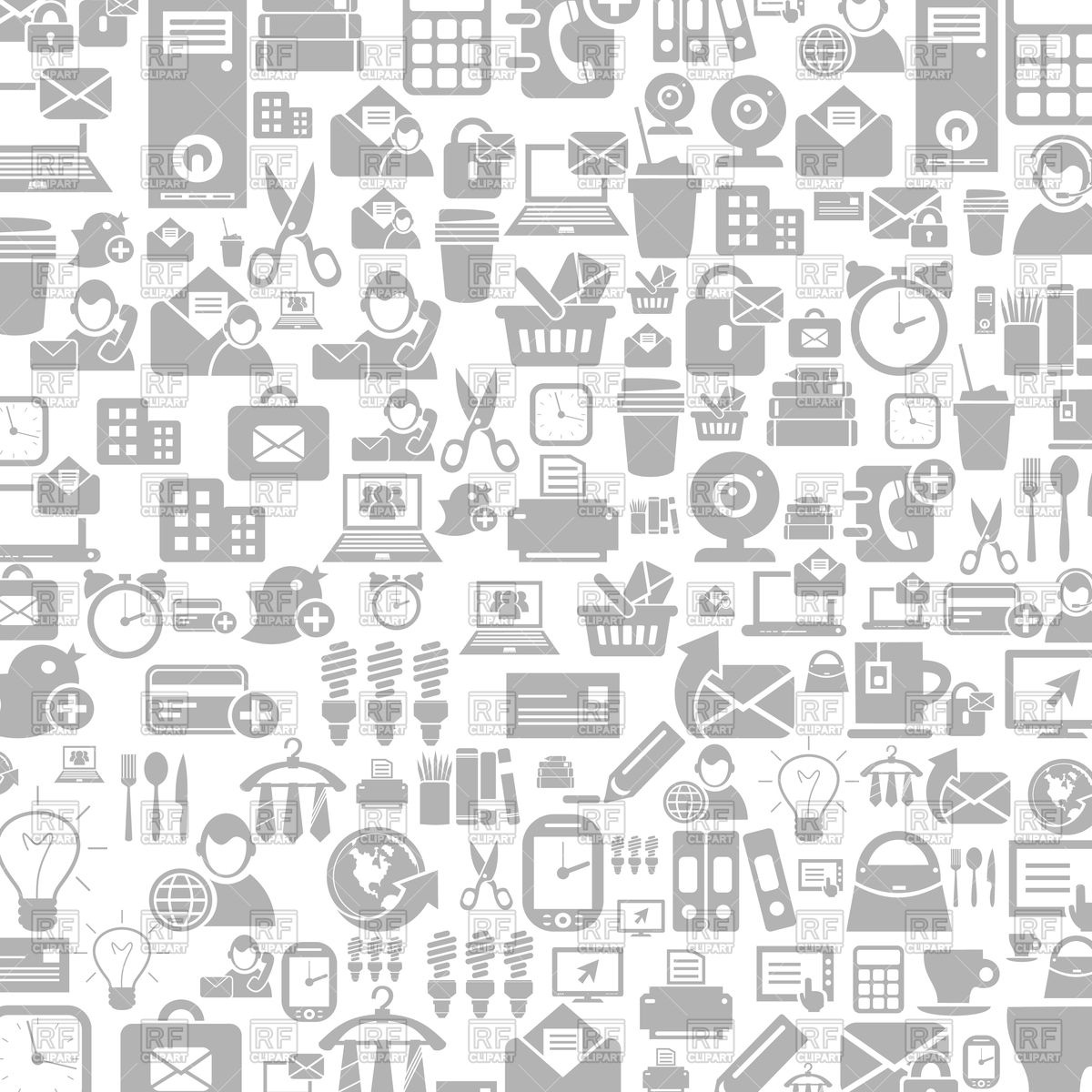 1200x1200 Grey Background With Office Icons Vector Image Vector Artwork Of