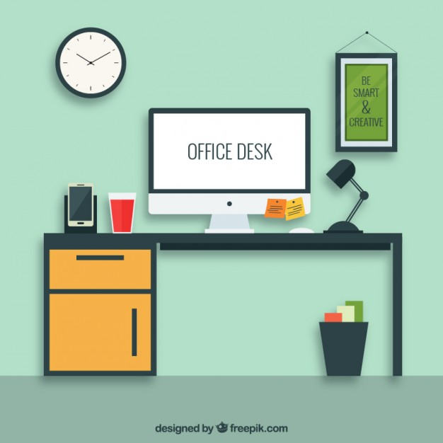 626x626 Office Desk Vector Free Download