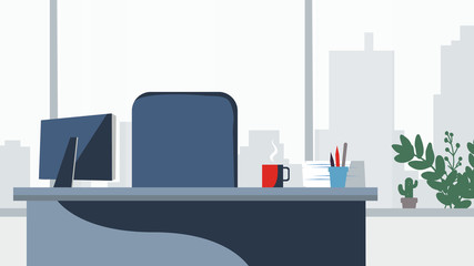 427x240 Office Desk Background Vector. Workplace Business Style. Table And