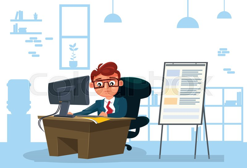 800x543 Business Man Working On Computer Sit At Desk Over Office