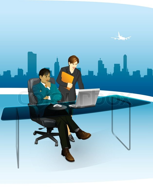 628x800 Business Man In The Office With His Secretary With Airpor