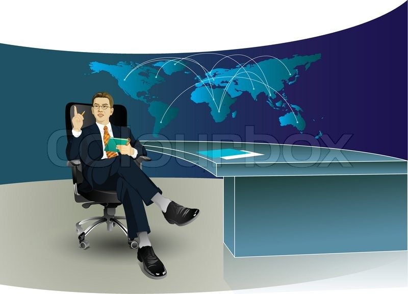 800x576 Business Man In The Office With World Map
