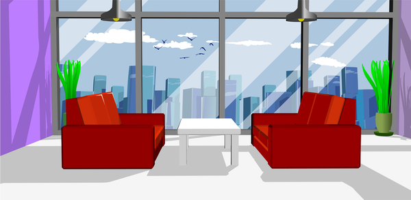 600x293 Business Office With Red Sofa Vector Free Download