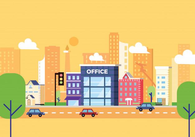 626x442 Jakarta Office Building Vector Illustration Vector Premium Download