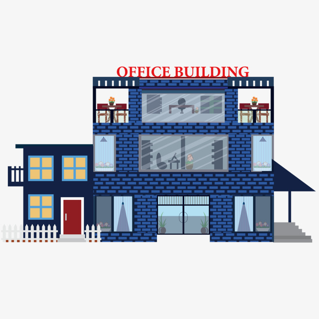 650x651 Office Building Vector Material, Blue, Office, Business Png And