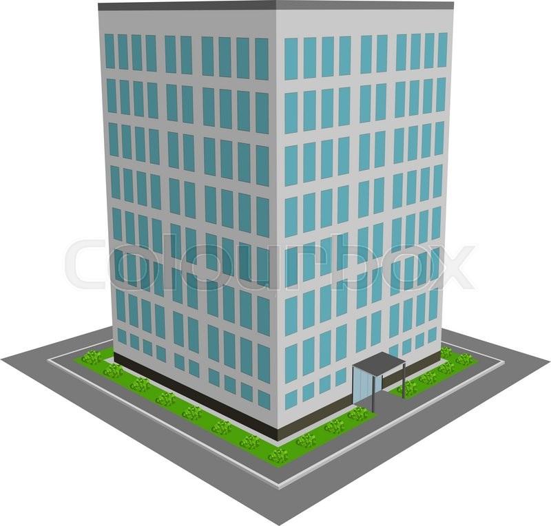 800x764 3d Office Building Flat Design Vector Illustration. Stock Vector