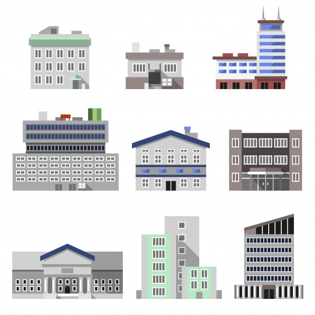 626x626 Office Buildings Flat Vector Free Download
