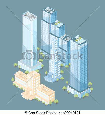 427x470 Vector 3d Flat Isometric Office Building With Trees Vector