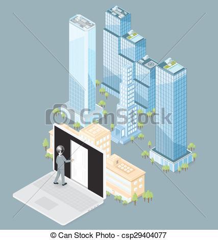 427x470 Vector 3d Flat Isometric Office Building. The Door To The
