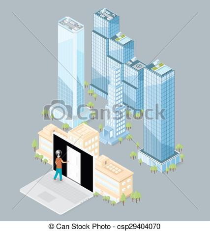 427x470 Vector 3d Flat Isometric Office Building. The Door To The Big City