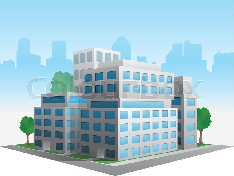 800x600 Vector Stylized Altered Generic Corporate Modern Office Building