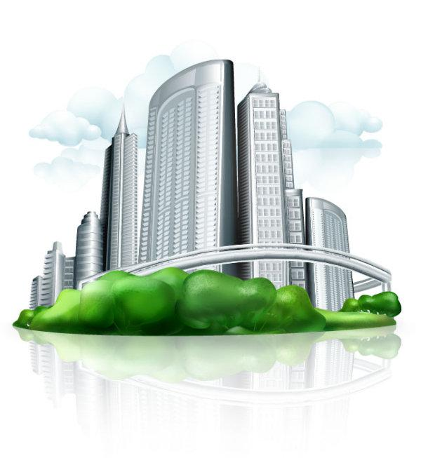 600x653 Commercial Building Design Vector Figure 4 [Eps]