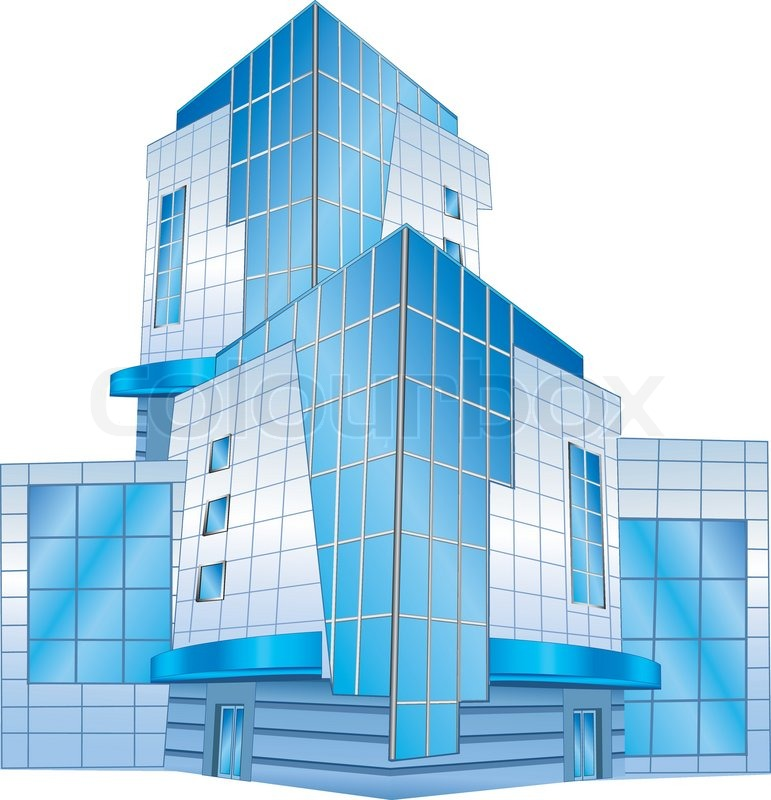 771x800 Conceptual Image Of Office Building, Vector Illustration Stock