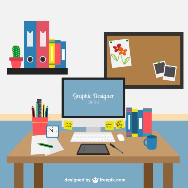 626x626 Graphic Designer Desk Vector Premium Download