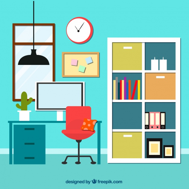626x626 Interior Of Office With Bookcase Vector Free Download, Home Office
