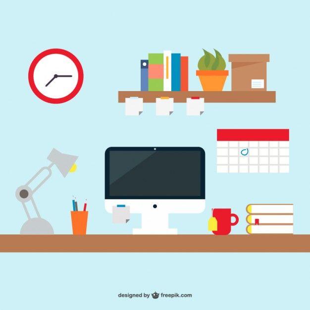 626x626 Office Desk Simple Design Free Vector Free Vectors