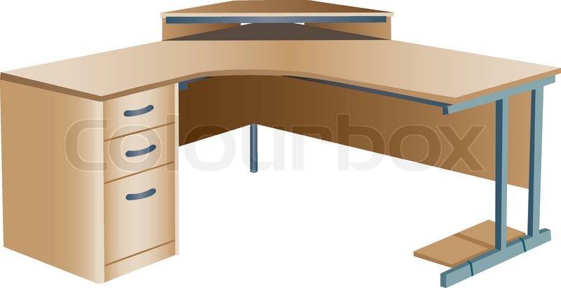 800x411 Angled Corner Office Desk Stock Vector Colourbox