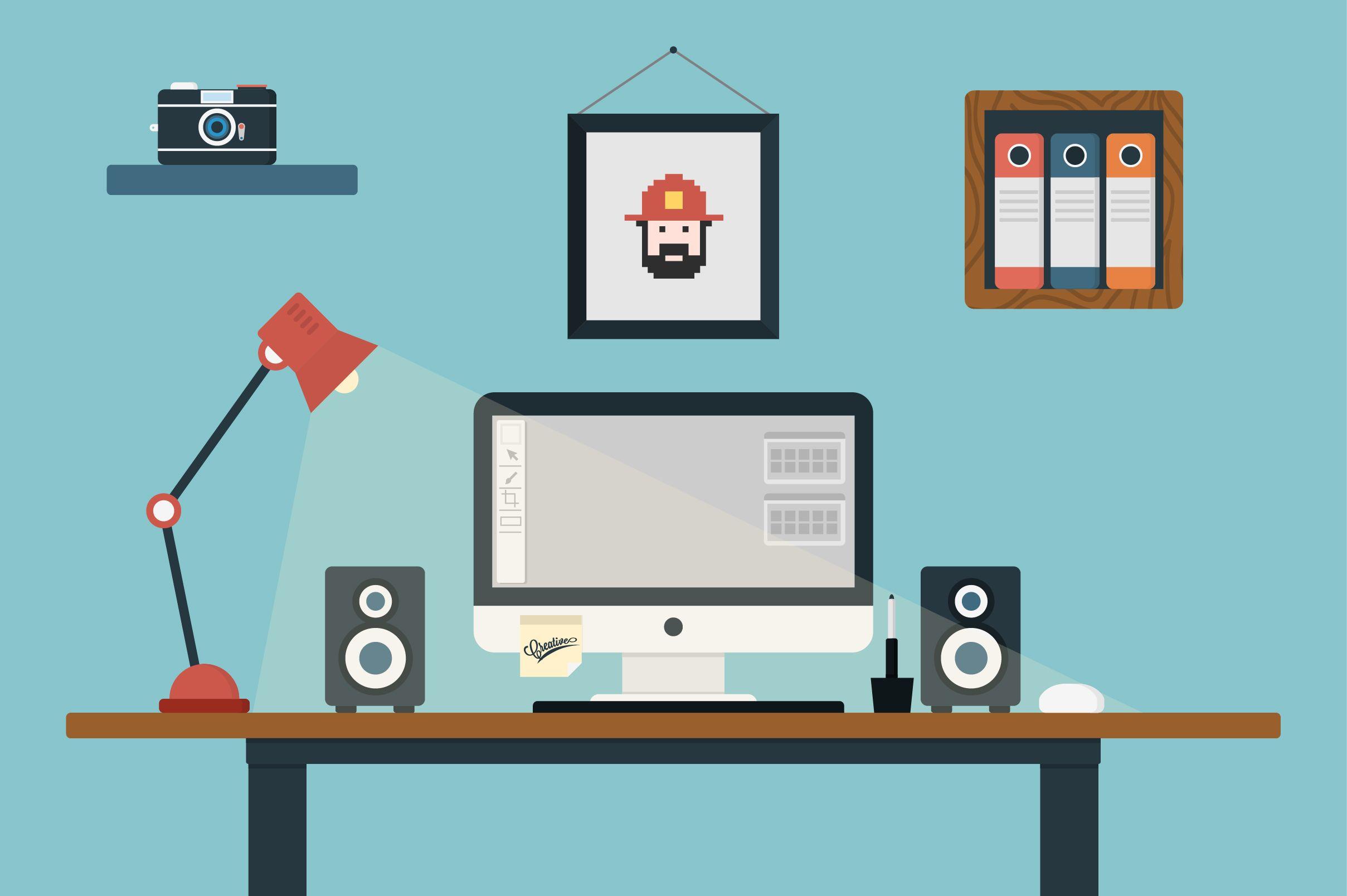2417x1608 Room Desk Vector Flat