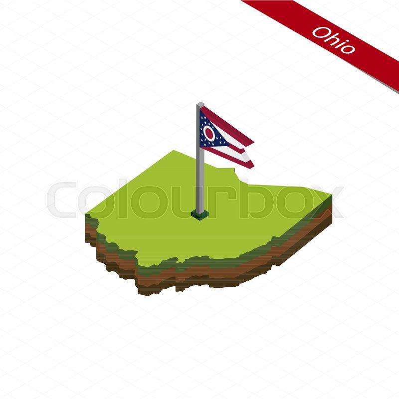 800x800 Isometric Map And Flag Of Ohio. 3d Isometric Shape Of Ohio State