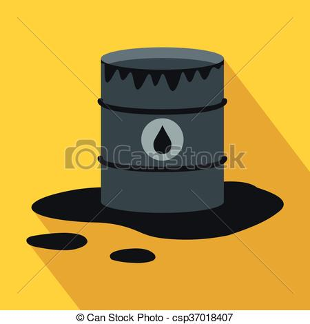 450x470 Barrel And Oil Spill Icon, Flat Style. Barrel And Oil Spill Icon