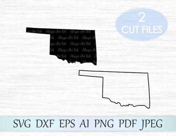 570x440 Oklahoma Svg Oklahoma Silhouette Svg Oklahoma Vector Ok Etsy