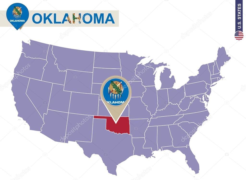 1024x750 Oklahoma State On Usa Map Oklahoma Flag And Map Stock Vector