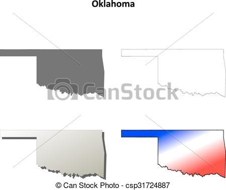 450x378 Oklahoma Outline Map Set . Oklahoma State Blank Vector Outline Map