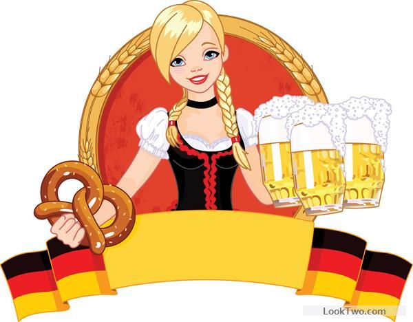 600x468 Girl With Beer Oktoberfest Vector Material 03 Free Vector Download