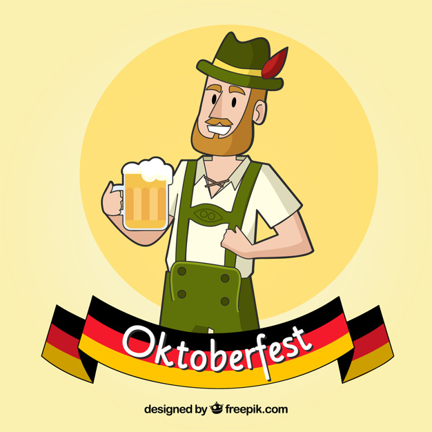 626x626 Happy Man With Beer Mug In The Oktoberfest Vector Free Download