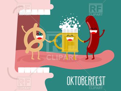 400x301 Man Eating Pretzel, Beer And Sausage