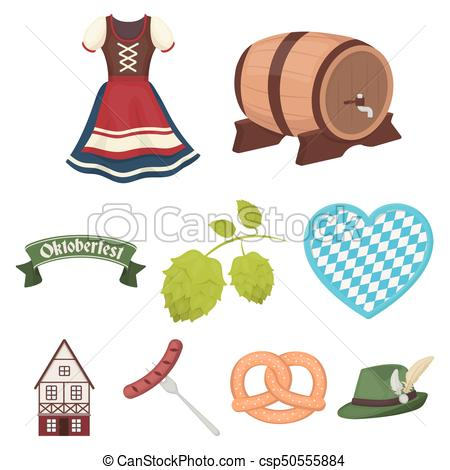 450x470 Oktoberfest Set Icons In Cartoon Style. Big Collection Of