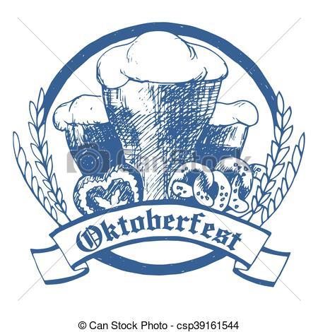 450x470 Oktoberfest Vector Illustration With Beer Glasses, Pretzels And